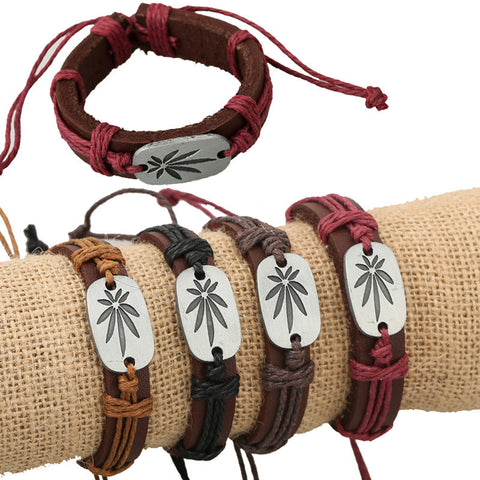 Retro Carving Leaves Woven Bracelet Set