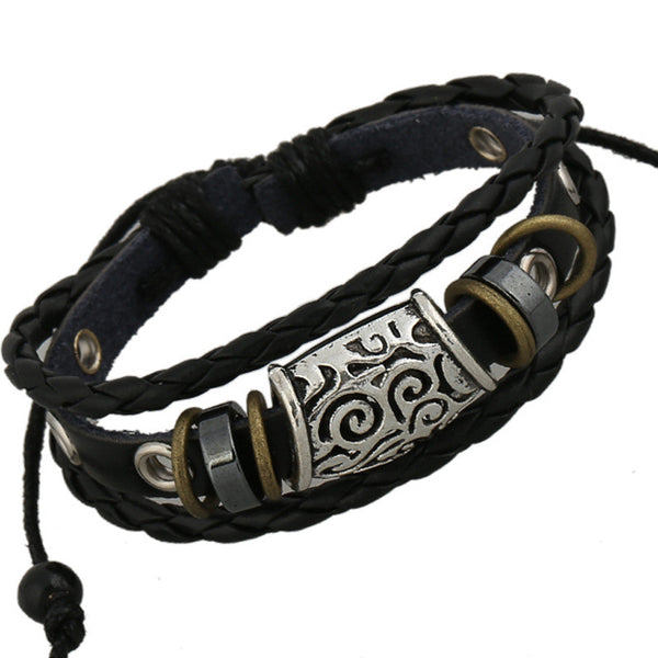 Carving Beaded Multilayer Woven Bracelet