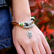 Owl Pendant Beaded Multilayer Bracelet