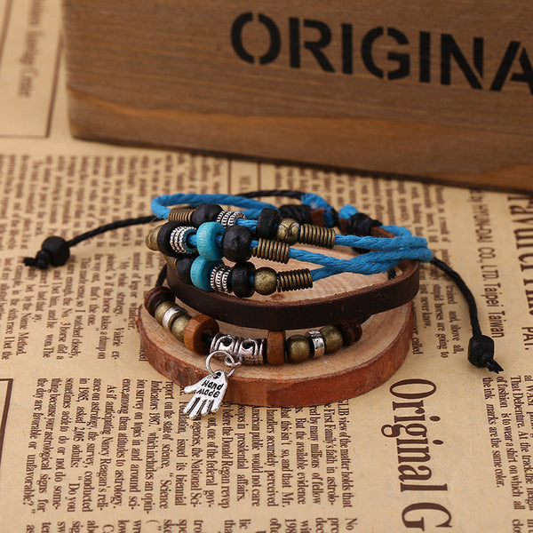 Hand Pendant Multilayer Leather Bracelet