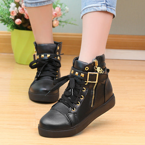 Elegant Zipper Rivet Skull Inside Increase Sports Sneakers - MeetYoursFashion - 3