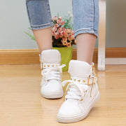Fashion Skull Decorate Flat High Cut Women's Canvas Rivet Sneaker - MeetYoursFashion - 1