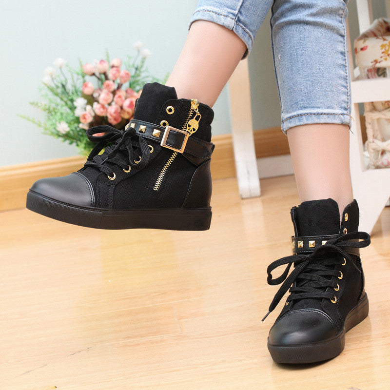 Fashion Skull Decorate Flat High Cut Women's Canvas Rivet Sneaker - MeetYoursFashion - 4
