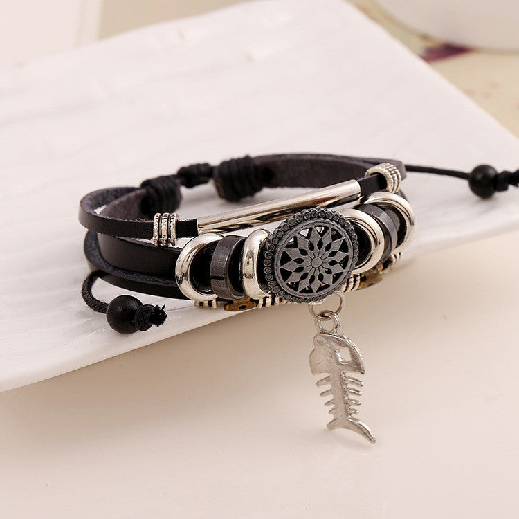 Personality Fish Bone Pendant Leather Bracelet