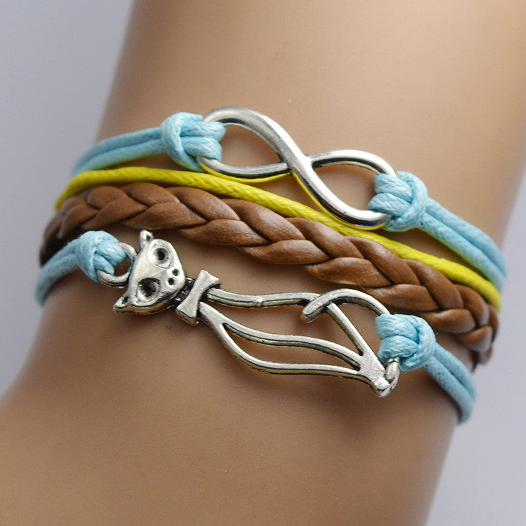 Cute Kitty LOVE Multilayer Woven Bracelet