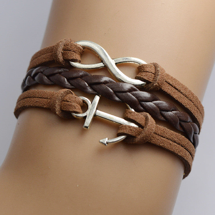 Retro Anchor Lucky 8 Multilayer Woven Bracelet