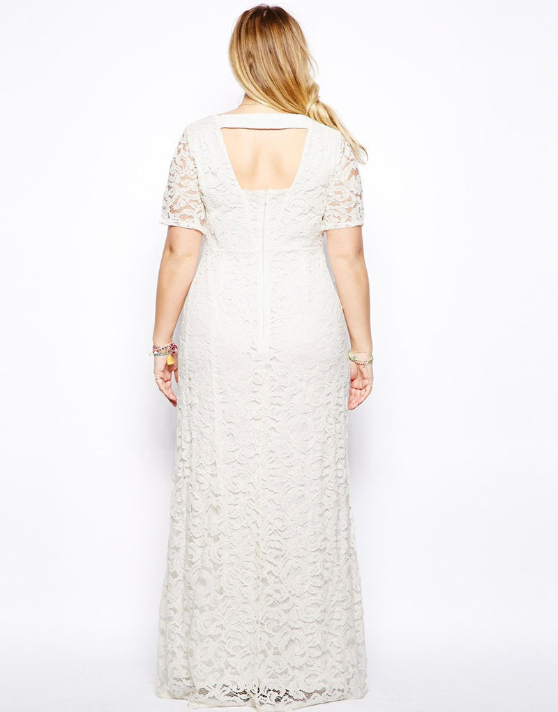 Plus Size Elegant Short Sleeve Lace Long Dress