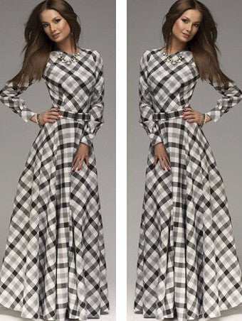 A-line Plaid Long Sleeves Long Party Dress - MeetYoursFashion - 2
