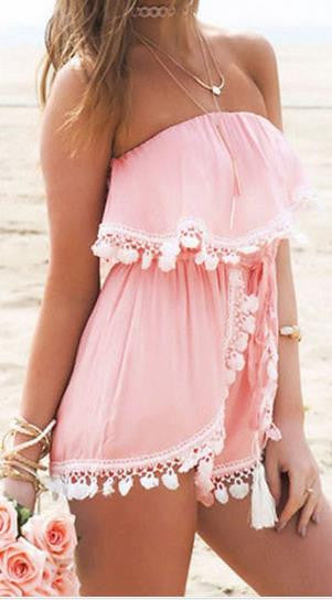 Strapless Chiffon Crossover Pleated Short Sexy Jumpsuit - Meet Yours Fashion - 1