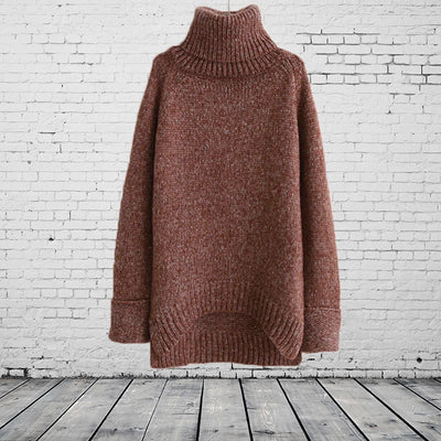 Solid Color High Collar Retro Irregular Long Pullover Sweater