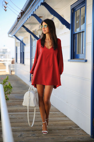V-Neck Split Long Sleeve Chiffon Loose Short Dress - MeetYoursFashion - 13