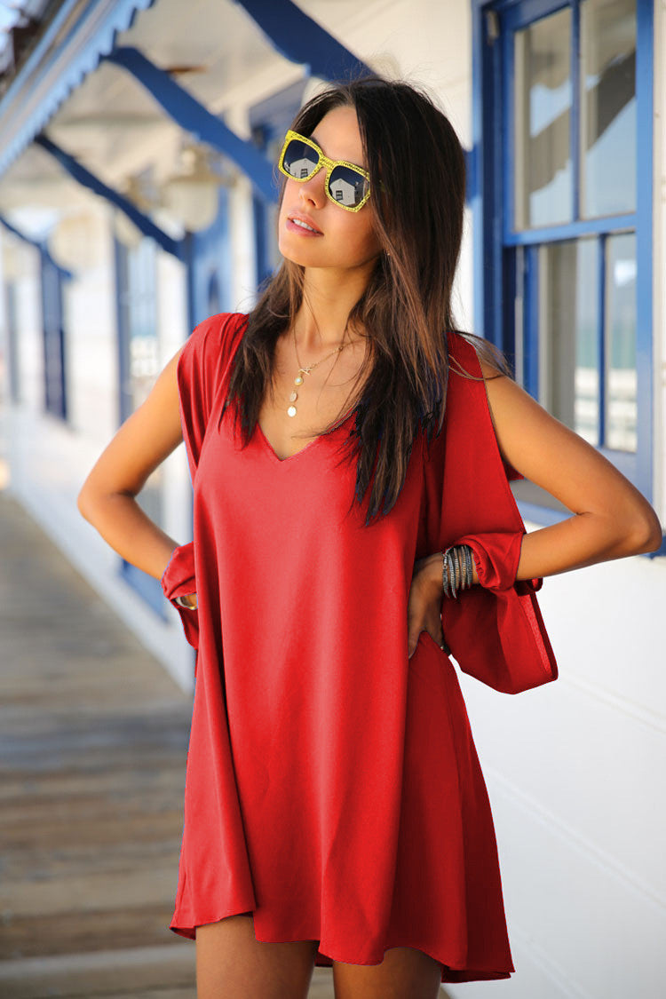 V-neck Bear Shoulder Loose Chiffon Short Dress - MeetYoursFashion - 7