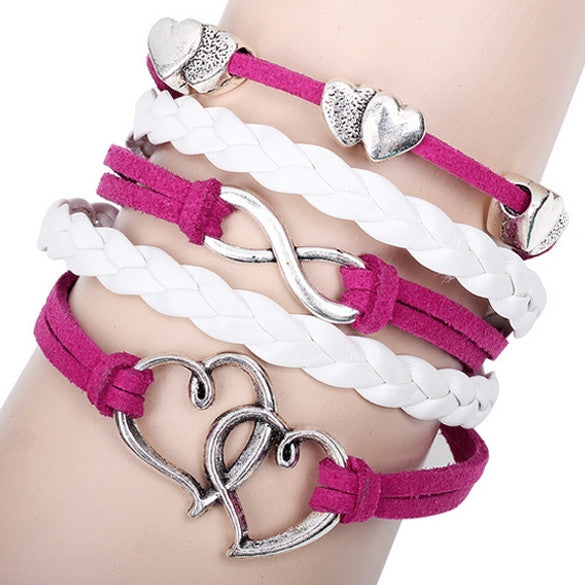 Alloy Anchor Rudder Leather Friendship Love Couple Charm Bracelet