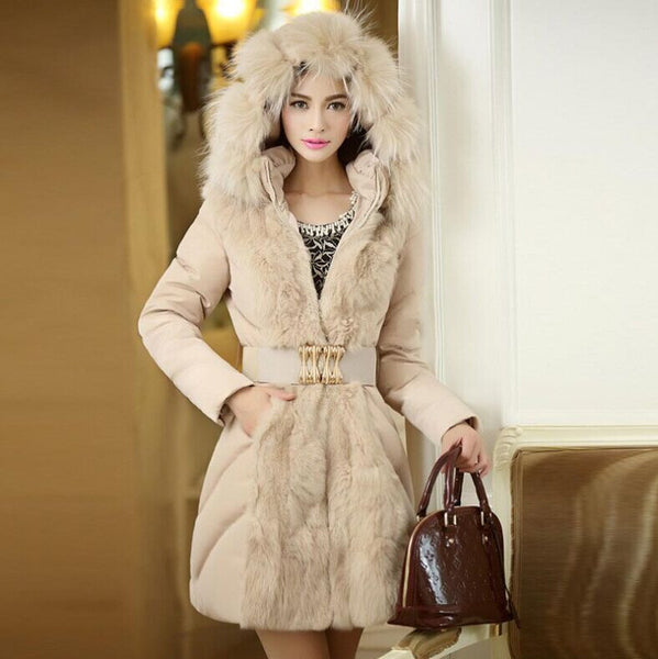 Fashion Hooded Slim Belt Patchwork Mid-length Cotton Coat