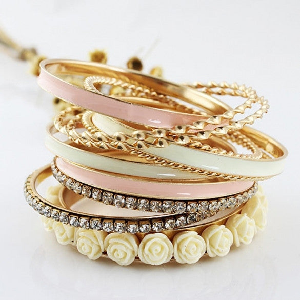 11 Pcs Jewelry Flowers Rhinestone Charm Multilayer Bracelet Golden