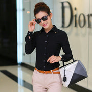 Pure Collar OL Turn-down Collar Slim Long Sleeves Blouse - Meet Yours Fashion - 5