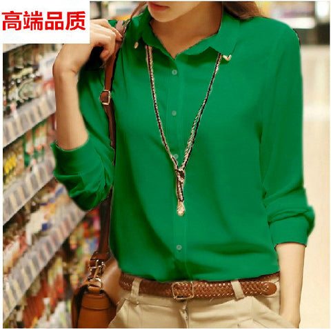 Pure Collar OL Turn-down Collar Slim Long Sleeves Blouse - Meet Yours Fashion - 6