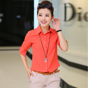 Pure Collar OL Turn-down Collar Slim Long Sleeves Blouse - Meet Yours Fashion - 4