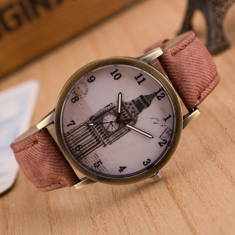 Denim Retro Big Clock Tower Watch