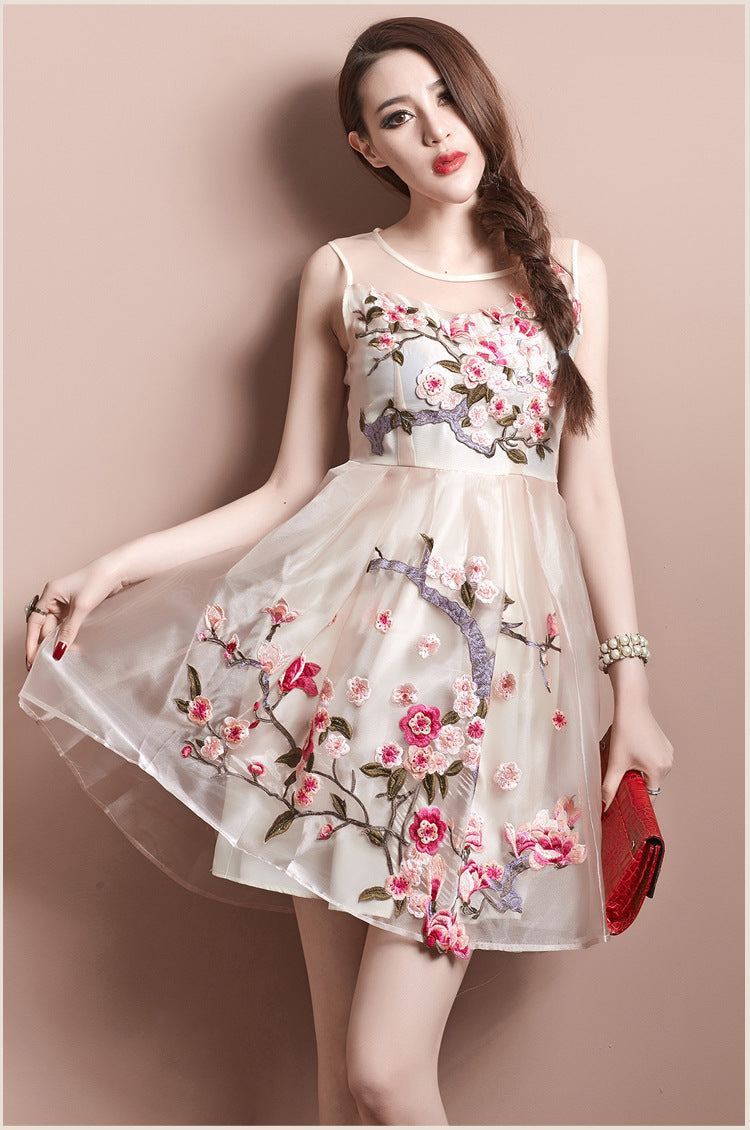 Charming Flower Embroidery Short Skater Dress
