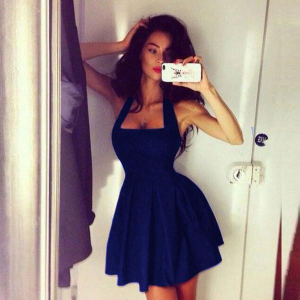 Square Neck Solid Halter Sleeveless Backless Slim Mini Dress