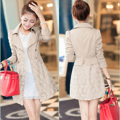 Lace Patchwork Turn-down Collar Slim Button Mid-length Coat - Meet Yours Fashion - 2