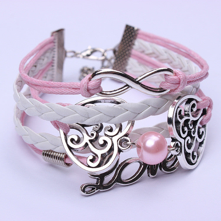Romantic Pink Heart LOVE Pearl Hand-made Bracelet