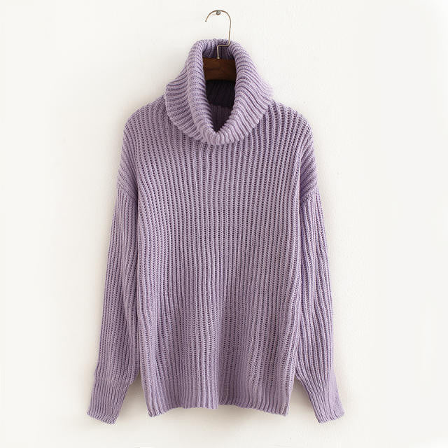 Lapel Pullover Loose High Collar Solid Sweater - Meet Yours Fashion - 9