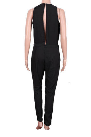 Black Scoop Sleeveless Hollow Out Back Long Jumpsuit