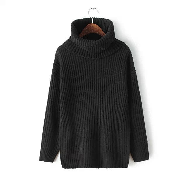 Lapel Pullover Loose High Collar Solid Sweater - Meet Yours Fashion - 5