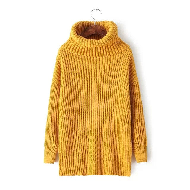 Lapel Pullover Loose High Collar Solid Sweater - Meet Yours Fashion - 13