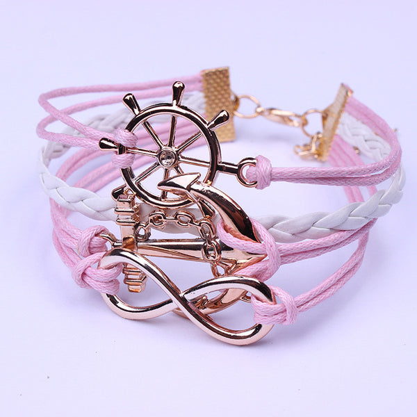 Gold-plated Anchor Rudder Hand-woven Bracelet