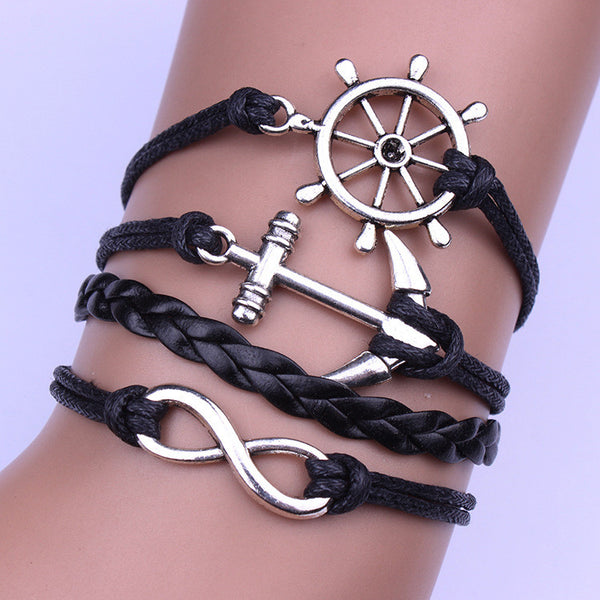 Personality Black Anchor Rudder Multilayer Woven Bracelet