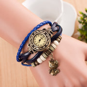 Retro Kitty Multilayer Woven Watch