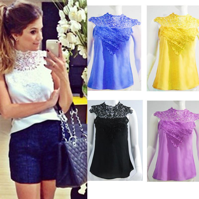 Lace High Neck Sleeveless Backless Slim Blouse - Meet Yours Fashion - 4