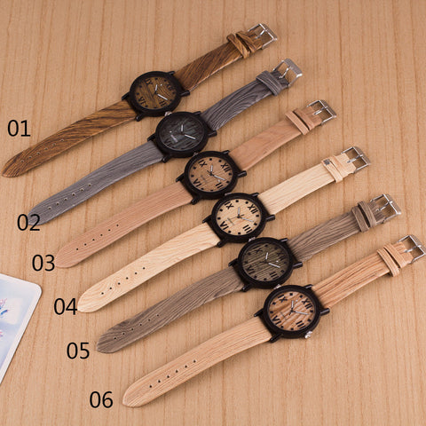 Popular Wood Grain Print Strap Watch