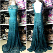 Elegant Women's Green Backless Lace Party Cocktail Long Dress - MeetYoursFashion - 6