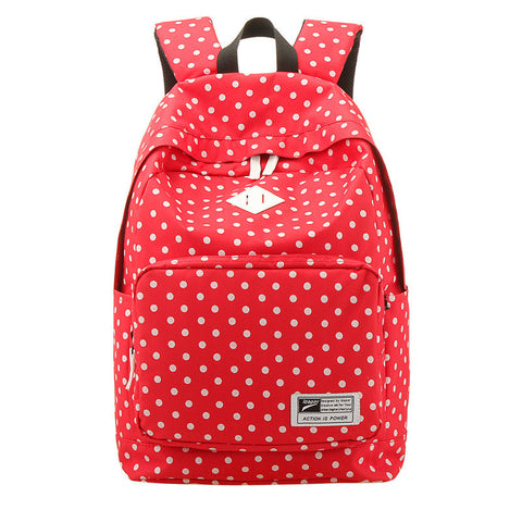 Polka Dot Print Korea School Backpack Travel Bag - Meet Yours Fashion - 4