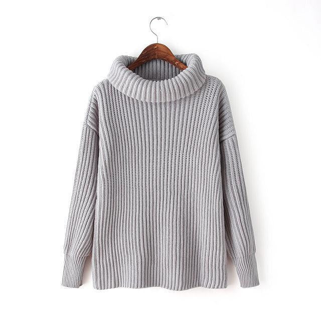 Lapel Pullover Loose High Collar Solid Sweater - Meet Yours Fashion - 8