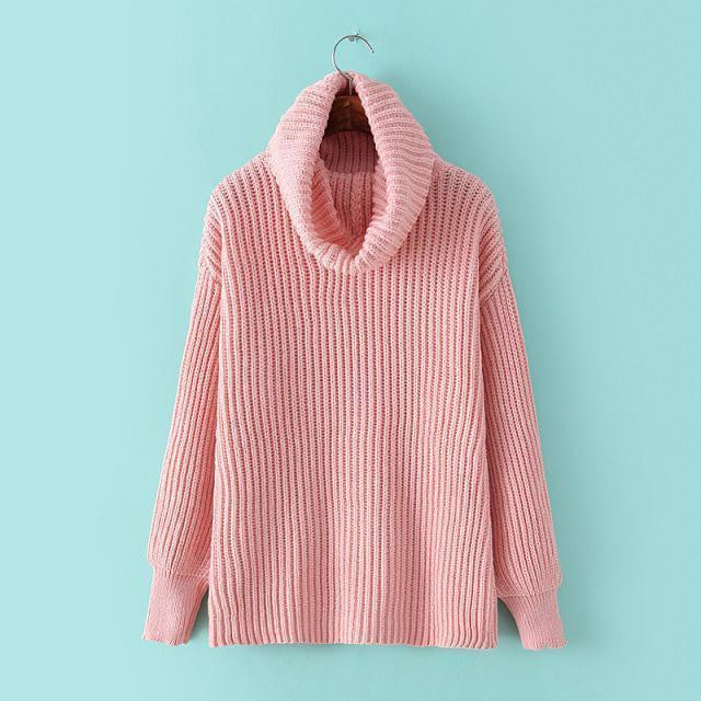 Lapel Pullover Loose High Collar Solid Sweater - Meet Yours Fashion - 2