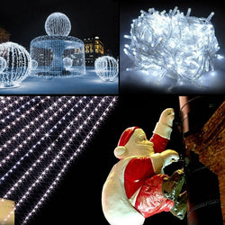 10M 100 LED White Lights Decorative Christmas Party Festival Twinkle String Lamp Bulb With Tail Plug 110V