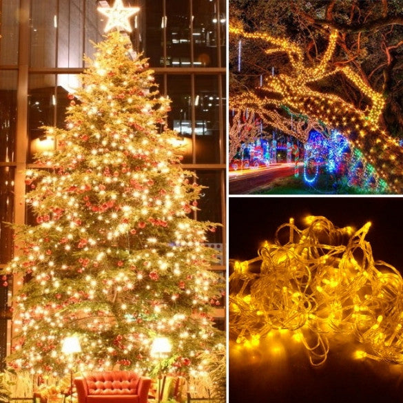 10M 100 LED Yellow Lights Decorative Christmas Party Festival Twinkle String Lamp Bulb With Tail Plug