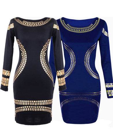 Gold Foil Long Sleeves Tunic Party Bodycon Dress - MeetYoursFashion - 5