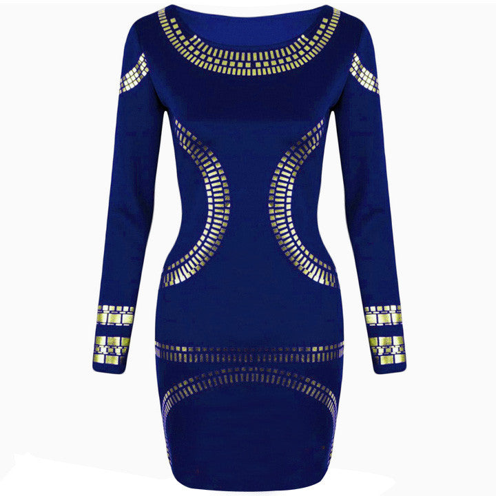 Gold Foil Long Sleeves Tunic Party Bodycon Dress - MeetYoursFashion - 6