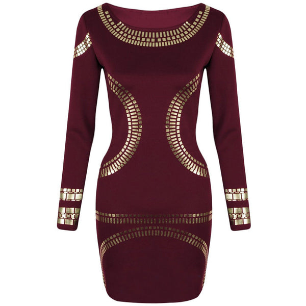Gold Foil Long Sleeves Tunic Party Bodycon Dress - MeetYoursFashion - 7