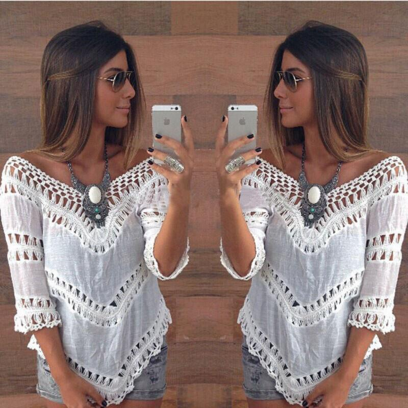 V-neck 3/4 Sleeves Hollow Bohemian Lace Chiffon Blouse - Meet Yours Fashion - 2