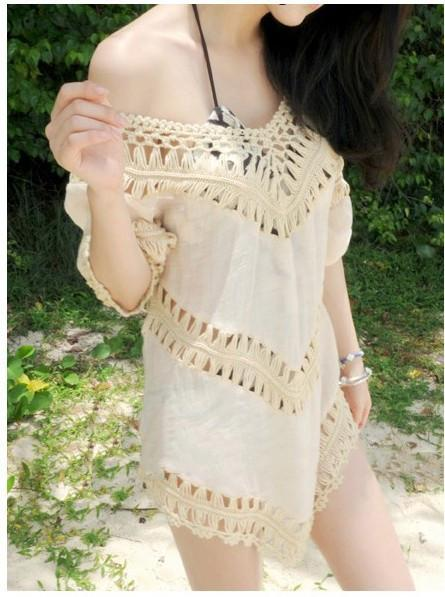 V-neck 3/4 Sleeves Hollow Bohemian Lace Chiffon Blouse - Meet Yours Fashion - 1