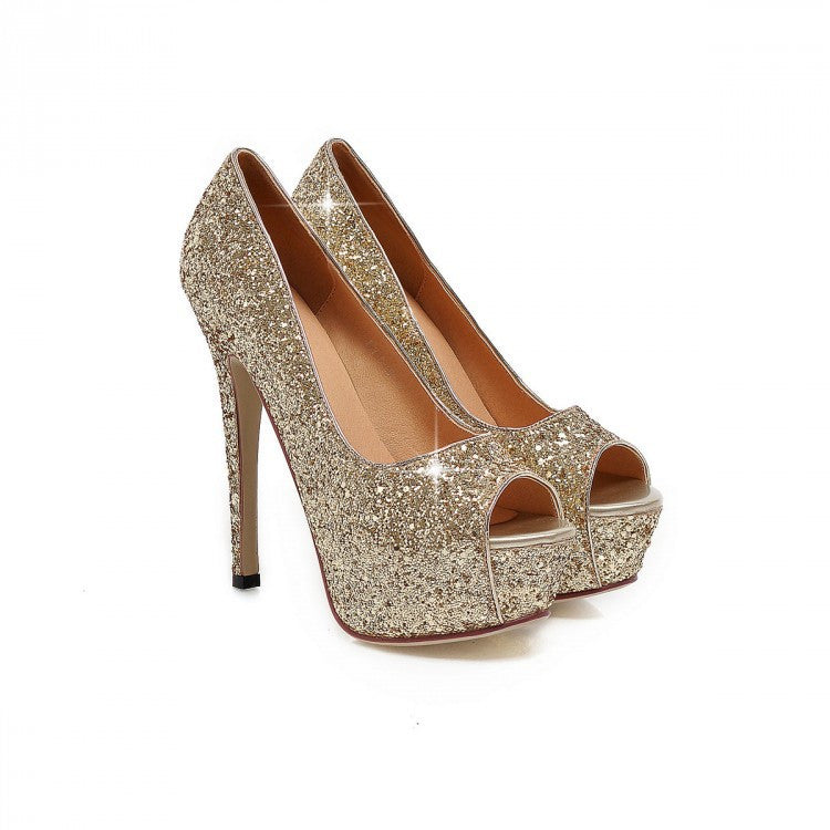 e7b1f8c86718 Sequins Peep-Toe Sexy High Heeled Bride Sandals Shoes – MeetYoursFashion