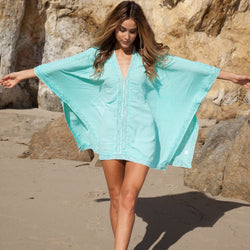 Loose V-neck Long Sleeve Short Beach Cover Up Dress - Meet Yours Fashion - 2