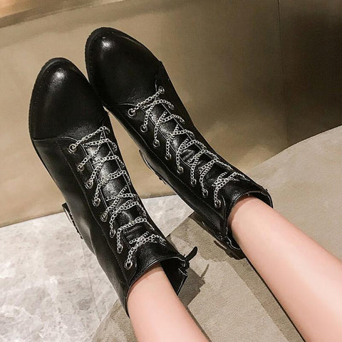 Leather Lace Up Low Heel Ankle Martin Boots